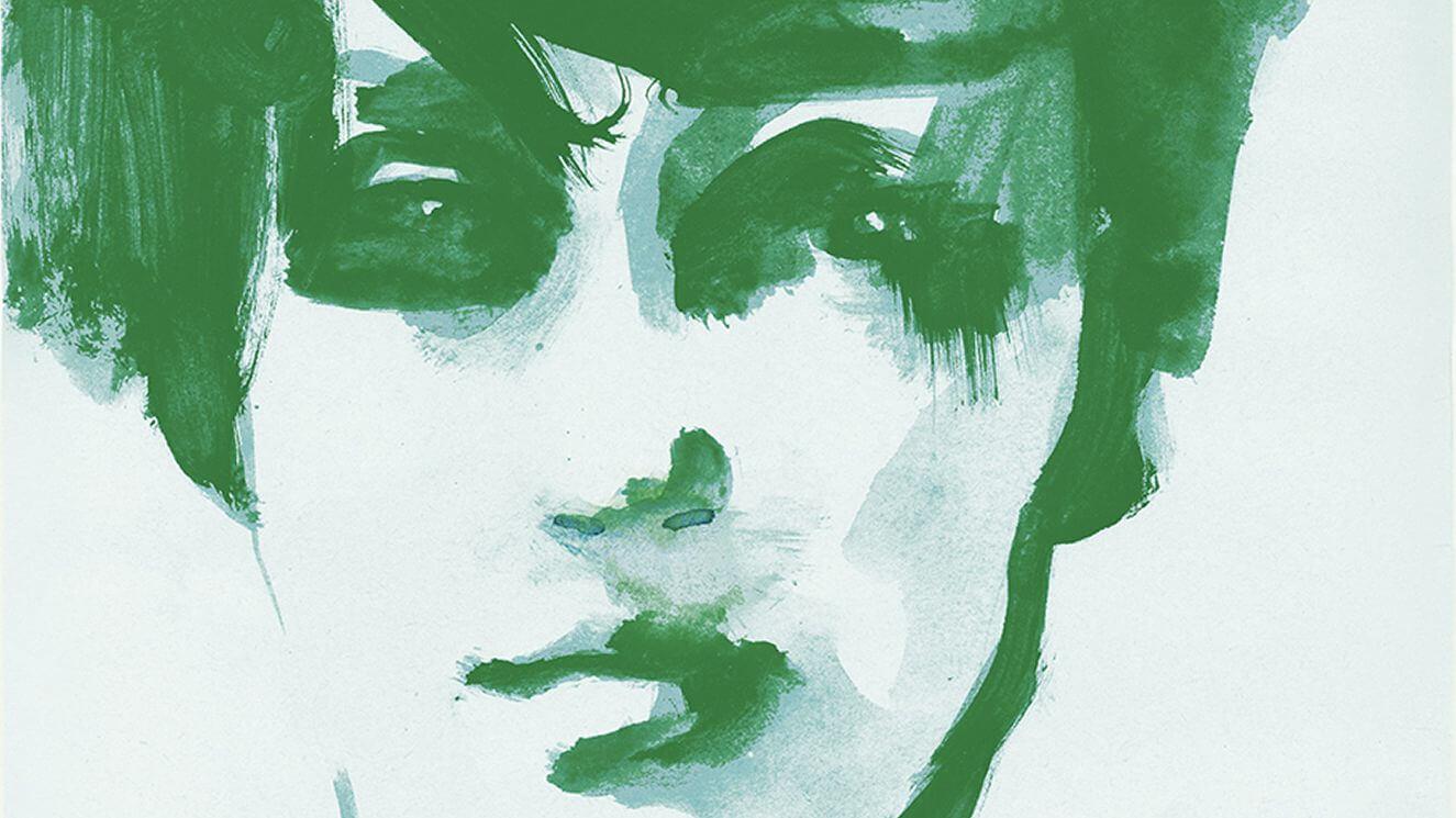 Ausschnitt Coverillustration Der Sprung, Aquarell eines Frauengesichts in Dunkelgrün